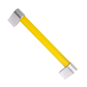 knob handle yellow matt methacrylate with matt chrome 128mm 677am7