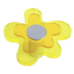 pomos tiradores flor metacrilato amarillo con metal cromo puerta mueb 678am