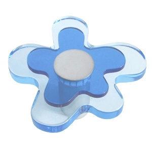 pomos tiradores flor metacrilato azul con metal cromo puerta mueble 678az