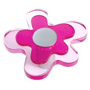 pomos tiradores flor metacrilato magenta rosa fucsia metal cromo muebl 678mg