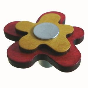pomos tiradores flor madera tintada rojo con metal cromo puerta muebl 678ra