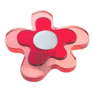 pomos tiradores flor metacrilato rojo con metal cromo puerta mueble 678rj