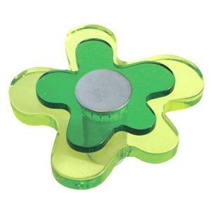 pomos tiradores flor metacrilato verde con metal cromo puerta mueble 678ve