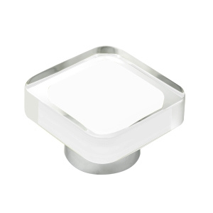 methacrylate furniture knob with white resin chrome base 697bl