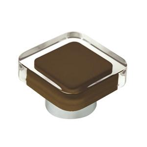 tirador pomo de mueble metacrilato con resina marron cholate base cromo diseno moderno 697ma