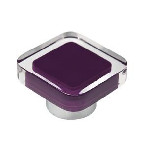 tirador pomo de mueble metacrilato con resina morada base cromo diseno moderno 697mo