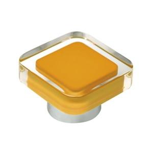 tirador pomo de mueble metacrilato con resina naranja base cromo diseno moderno 697na
