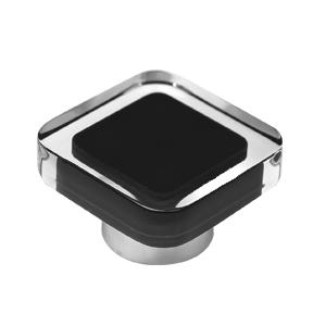 tirador pomo de mueble metacrilato con resina negra base cromo diseno moderno 697ne