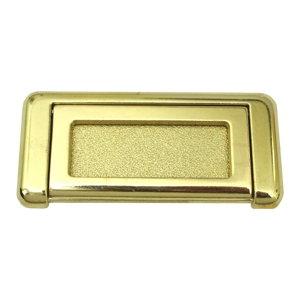 poignee avec plaque laiton poli tiroir meuble 74219