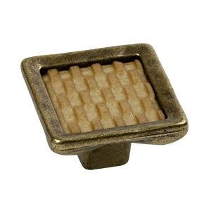 trador pomo de mueble mimbre resina con base bronce 7763mi