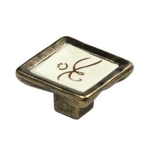 tirador pomo de mueble trazo resina con base bronce 7763tr