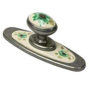 bouton de meuble base argent vielli avec resine fleur verte 777ve