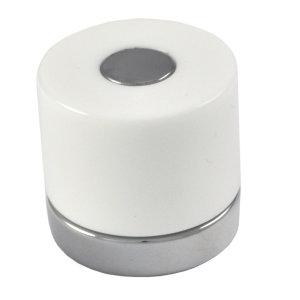 poignee bouton cylinder metacrylate blanche chrome meuble dessin 145 0039018v0101