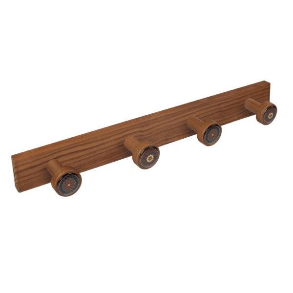 percha pomos madera tinte cerezo viejo pomos arabescos perchero diseno retro mueble vintage 9027cv