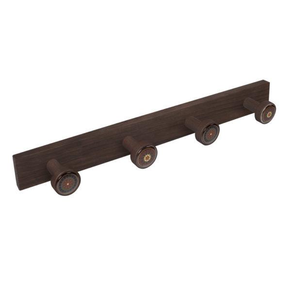 percha pomos madera tinte nogal viejo pomos arabescos perchero diseno retro mueble vintage 9027nv