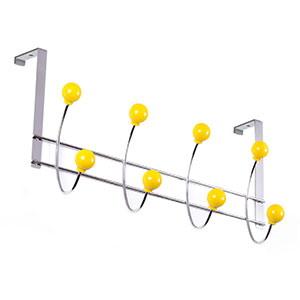 percha puerta cromada bolas amarillas perchero colgador n519