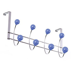 percha puerta cromada bolas azules perchero colgador n521