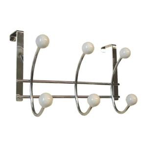 perchas sobre puerta de metal con bolas porcelana blanca percheros 902bl