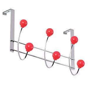 percha puerta cromada bolas rojas perchero colgador n532