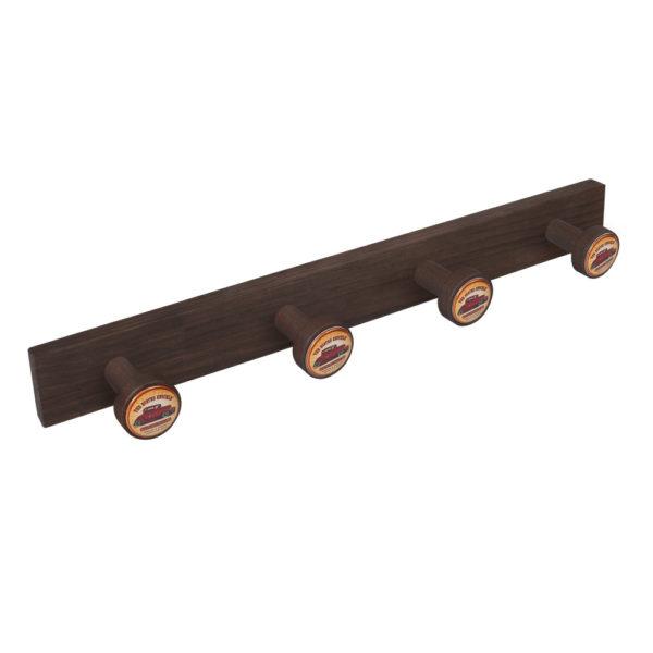 percha pomos madera tinte nogal viejo pomos garage car perchero diseno retro mueble vintage 9035nv