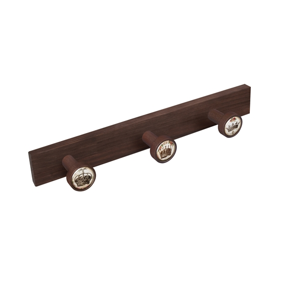 wall hanger knobs old walnut coloured wood crown vintage retro ap1361
