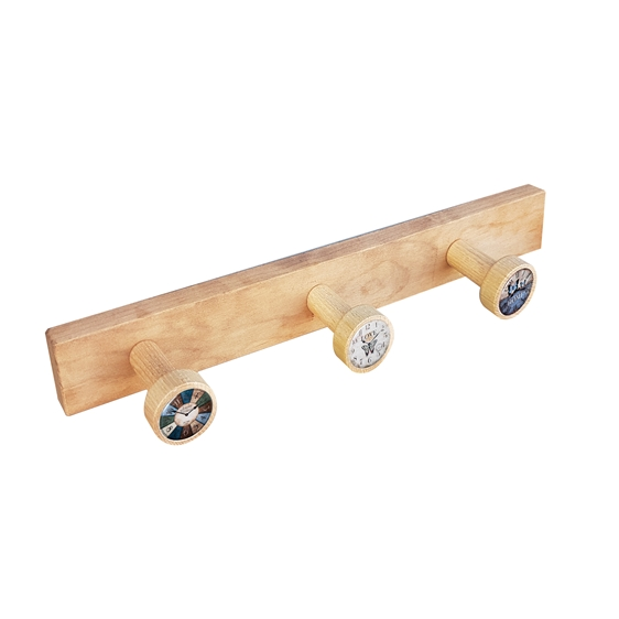 wall hanger knobs old beech coloured wood watches vintage retro ap1369