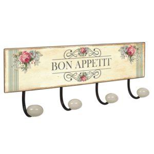 percha pared pomos porcelana bon appetit vintage retro ap1399