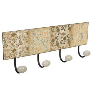 percha pared metal diseño clasico vintage decoracion mandalas cachemir con 4 ganchos porcelana patere mur en metal 4 boutons porcelaine indian dream