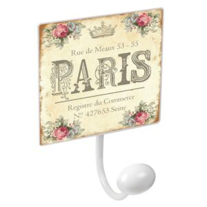 percha pared metal blanco con pomo porcelana paris vintage retro  porte manteaux mural crochet en porcelaine paris vintage retro