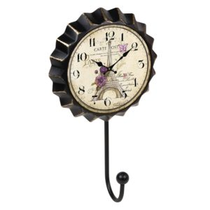 percha pared chapa reloj paris flores vintage retro ap1476