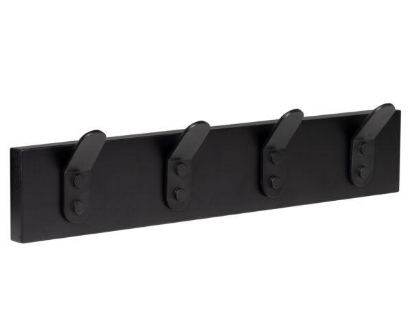 percha pared madera negra 4 ganchos negros patere porte manteau en bois noir 4 crochets noirs