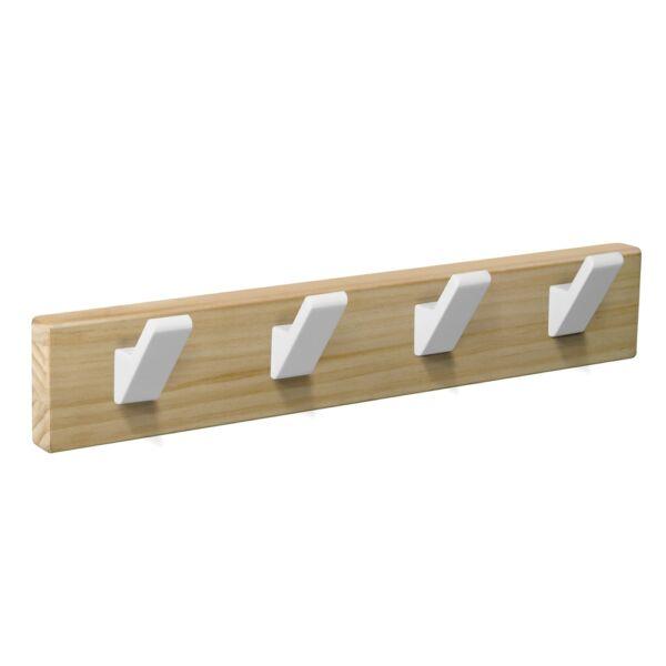 percha pared madera natural 4 ganchos blancos patere porte manteau en bois naturel 4 crochets blancs