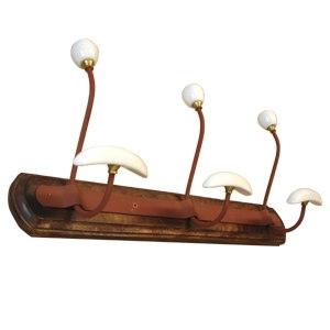 rust iron porcelain hooks with wood rack 926env