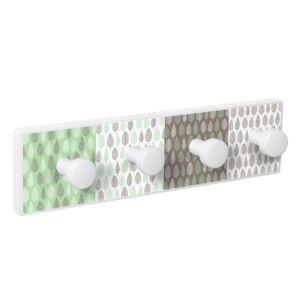 percha pared blanca 4 pomos serigrafia hojas verde marron patere porte manteau en bois blanc 4 boutons serigraphie feuille vert marron