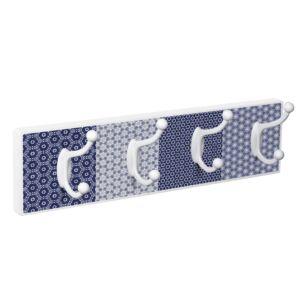 percha pared blanca 4 ganchos serigrafia azulejo cobalto patere porte manteau en bois blanc 4 crochets serigraphie carreaux