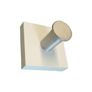 perchas individual pared madera blanca con gancho aluminio 932bl