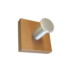 perchas individual pared madera haya miel con gancho aluminio 932hm