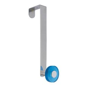 gancho puerta cromado con pomo azul tanslucido perchero colgador n254