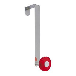gancho puerta cromado con pomo rojo tanslucido perchero colgador n258