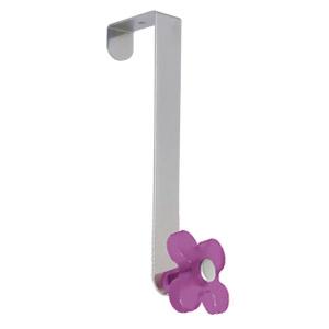 gancho puerta cromado con flor morado tanslucido perchero colgador n249