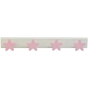 perchas estrellas rosas madera lacada habitacion bebes 957rs