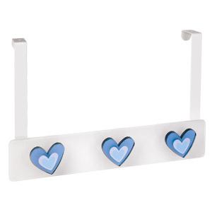 perchas sobre puerta metacril blanco corazones azules infantiles 961blaz