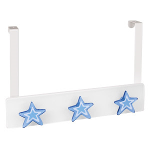 perchas sobre puerta metacril blanco estrellas azules infantiles 962blaz