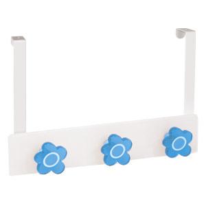 perchas sobre puerta metacril blanco flores azules infantiles 963blaz