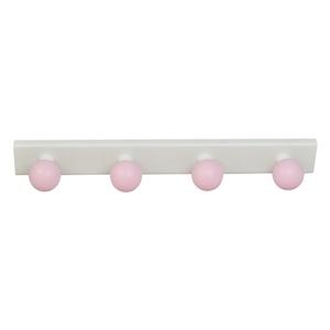 perchas percheros base blanca con bolas rosa habitacion bebes 964rs