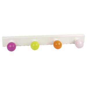 percha madera lacada 4 bolas de colores 964su
