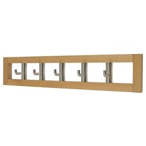 percha toallas madera haya miel con 5 ganchos giratorios cromados 965hm