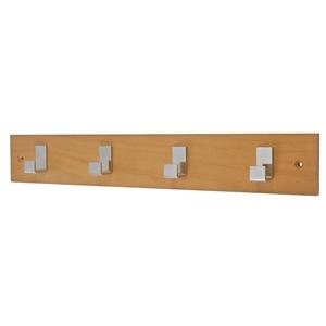 honey beech wooden hanger with 4 chromed hooks 966hm