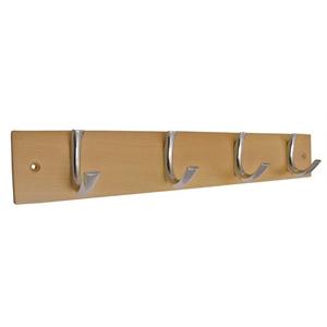 honey beech wooden hanger with 4 chromed hooks 986hm