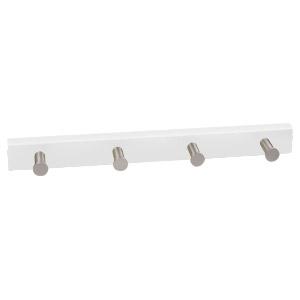 percha 4 pomos aluminio con base laca blanca 989bl